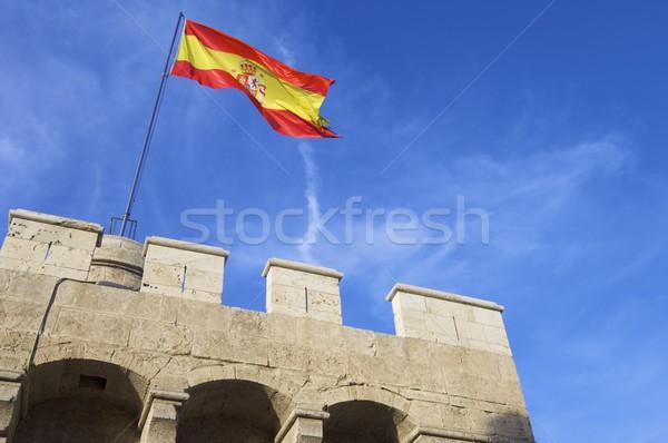 Bandeira espanhola pedra Valência Espanha céu castelo Foto stock © pedrosala