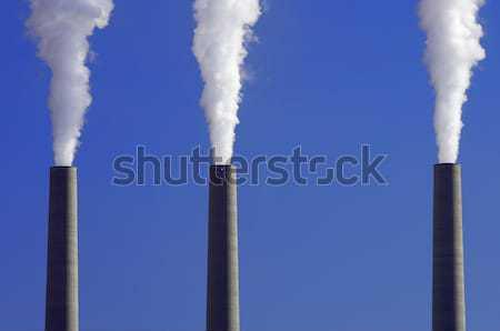 Energiecentrale gebouw Blauw fabriek macht plant Stockfoto © pedrosala
