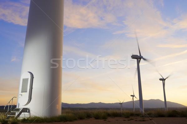 Vent énergie électriques pouvoir production coucher du soleil Photo stock © pedrosala