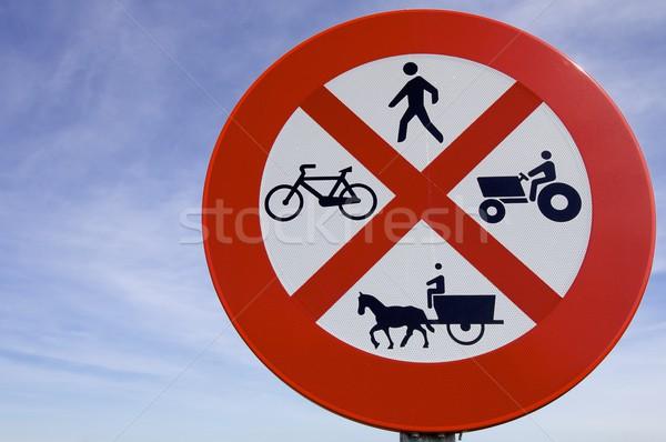 Verboden verboden drive boerderij voertuigen mensen Stockfoto © pedrosala