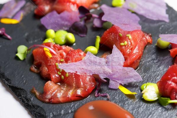 Kırmızı ton balığı sashimi gıda akşam yemeği siyah Stok fotoğraf © pedrosala