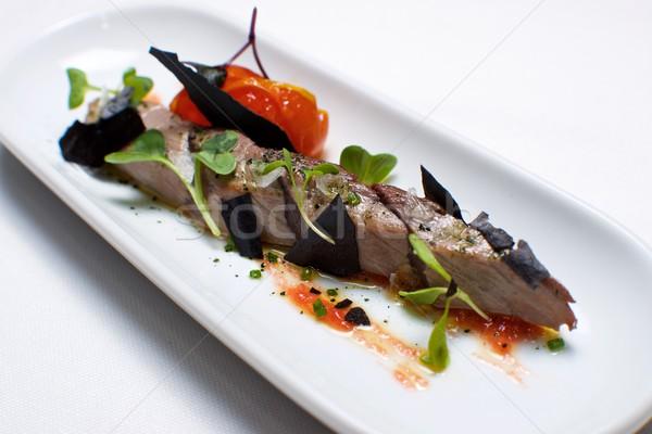 Atum típico pequeno branco prato peixe Foto stock © pedrosala