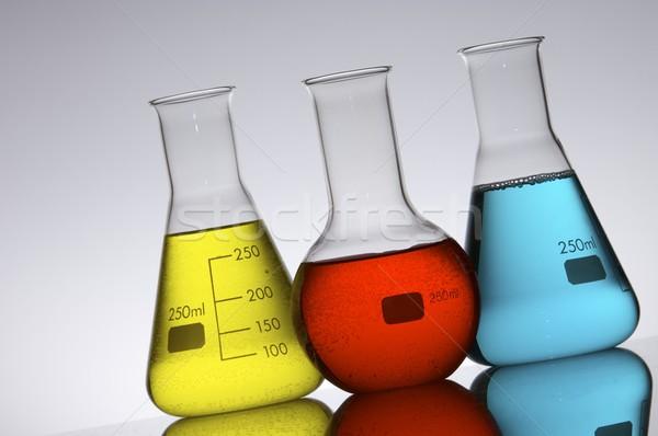 Három színes folyadék háttér gyógyszer kék Stock fotó © pedrosala