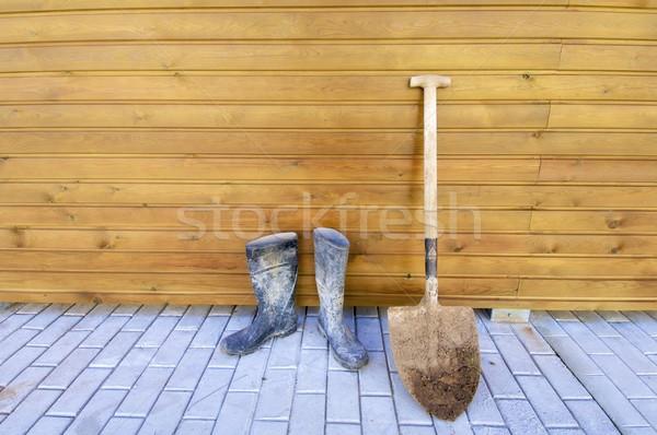 Shovel and gumboots Stock photo © pedrosala