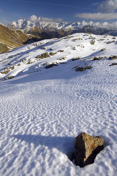 Szczyt góry śniegu górskich Świt turystyka Zdjęcia stock © pedrosala