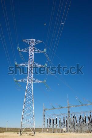 энергии высокий напряженность электрические башни небе Сток-фото © pedrosala