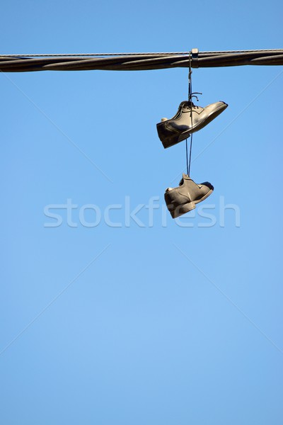 şık ayakkabı çift asılı gökyüzü kablo Stok fotoğraf © pedrosala