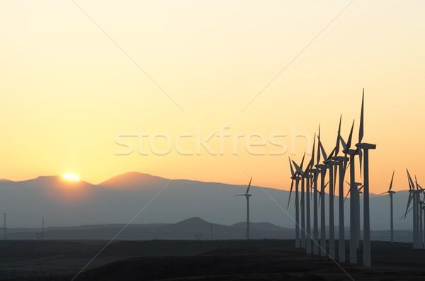 электрических производства закат небе пейзаж области Сток-фото © pedrosala