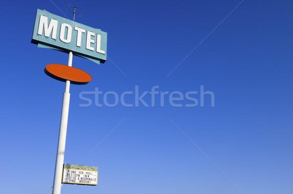 мотель плакат зеленый Blue Sky оранжевый синий Сток-фото © pedrosala