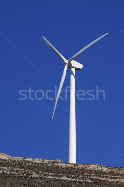 Egyedüli szélmalom kék ég égbolt energia jövő Stock fotó © pedrosala
