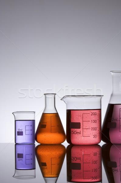 Laboratuvar züccaciye beyaz arka plan turuncu mavi Stok fotoğraf © pedrosala