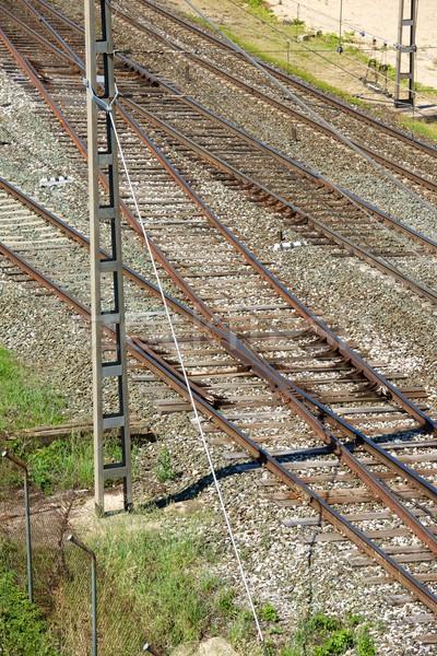 Spoorweg lijn Spanje trein verkeer Stockfoto © pedrosala