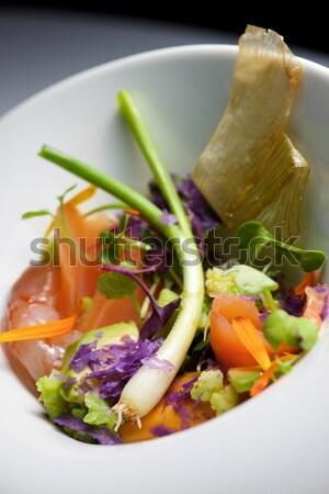Krewetka koktajl serwowane krystalicznie żywności wzrosła Zdjęcia stock © pedrosala