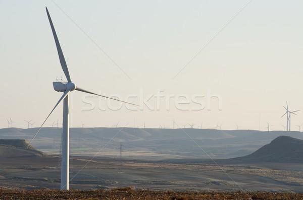 Elektrik üretim açık gökyüzü gün batımı teknoloji alan Stok fotoğraf © pedrosala