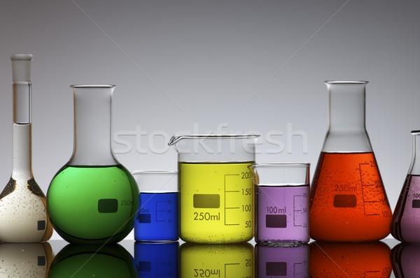 Laboratórium színes folyadék háttér kék csoport Stock fotó © pedrosala