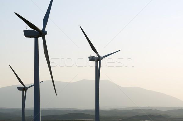 Szél energia sziluett csoport megújuló elektromos Stock fotó © pedrosala