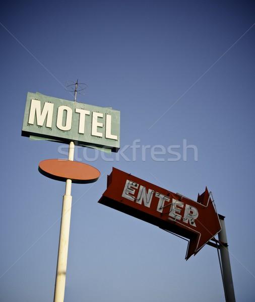 Motel poster groene blauwe hemel Californië USA Stockfoto © pedrosala
