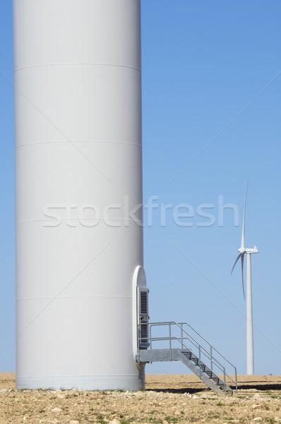 Entrée moulin à vent ciel clair technologie vert ferme Photo stock © pedrosala