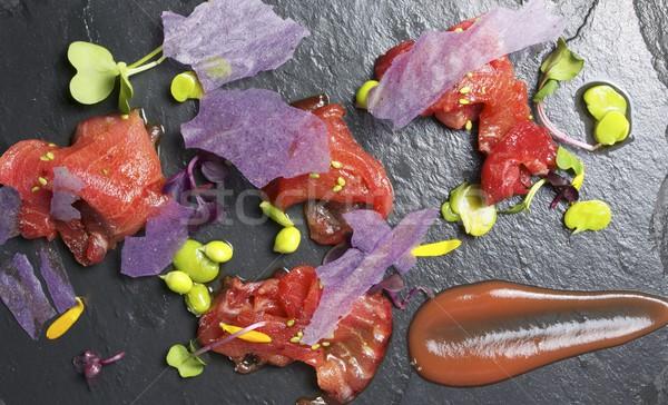 Czerwony tuńczyka sashimi żywności ryb Sałatka Zdjęcia stock © pedrosala
