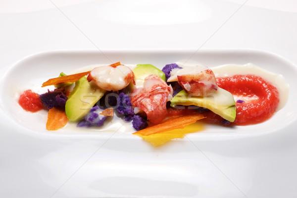 Aragosta salsa verdura bianco piatto alimentare Foto d'archivio © pedrosala