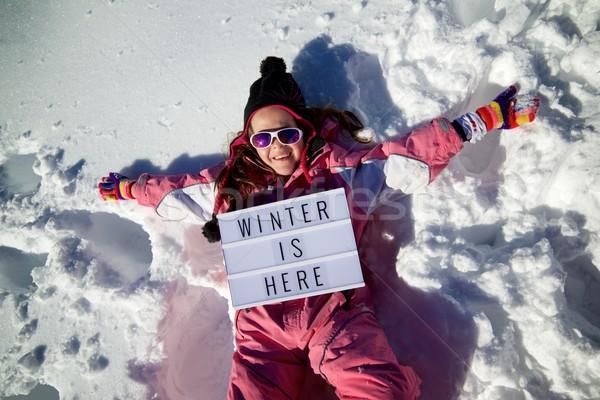 Kış burada slogan kız kadın dağ Stok fotoğraf © pedrosala