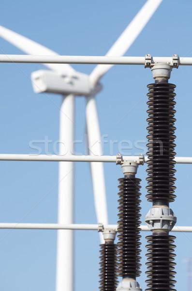 Vent énergie moulin à vent électriques pouvoir production Photo stock © pedrosala