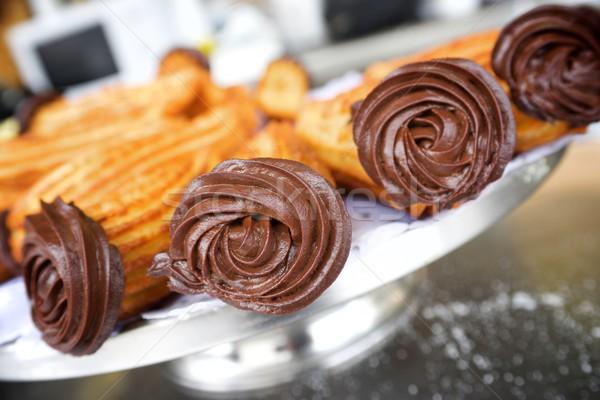Foto stock: Grupo · típico · chocolate · prato · café · da · manhã · gordura