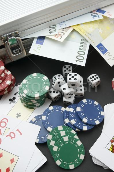 ギャンブル ユーロ カジノチップ カード 金属 ストックフォト © pedrosala