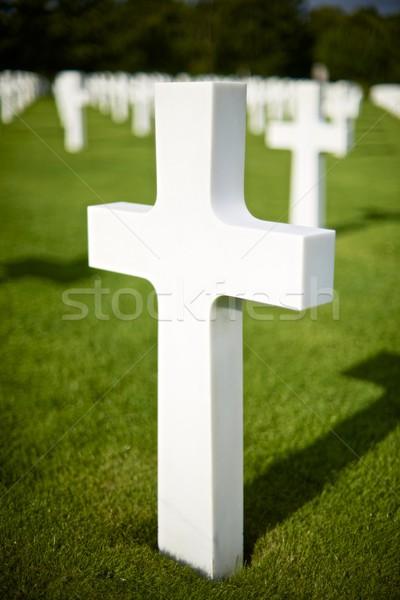 кладбище белый крестов американский пляж Нормандия Сток-фото © pedrosala