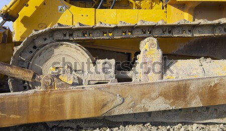 Zdjęcia stock: Spychacz · żółty · dziedzinie · Błękitne · niebo · ziemi · przemysłowych