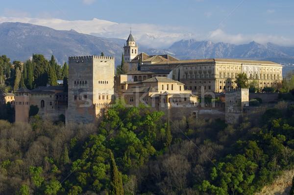 Naplemente Alhambra híres kilátás fenék kép Stock fotó © pedrosala