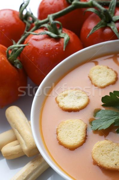 Közelkép tányér tipikus spanyol nyár gasztronómiai Stock fotó © pedrosala