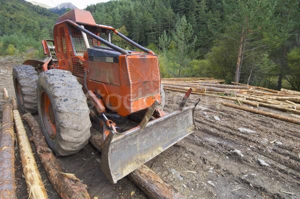 Buldózer közelkép erdő völgy épület építkezés Stock fotó © pedrosala