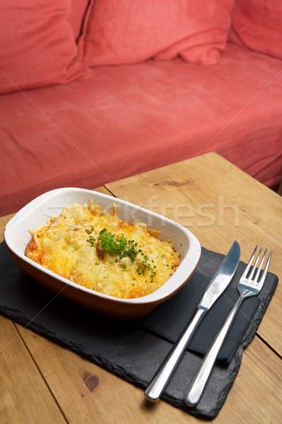 Тоскана картофель блюдо деревянный стол здоровья пластина Сток-фото © pedrosala