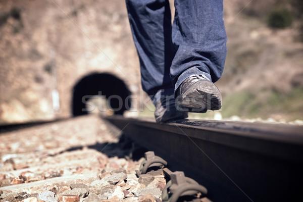 Balance on a railroad track Stock photo © pedrosala