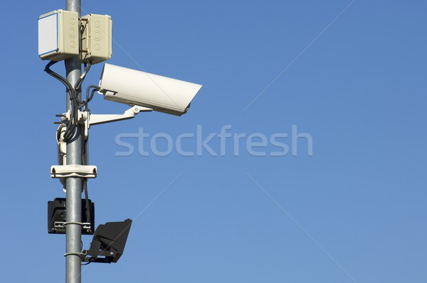 Aparatu bezpieczeństwa dwa Błękitne niebo niebo telewizji monitor Zdjęcia stock © pedrosala