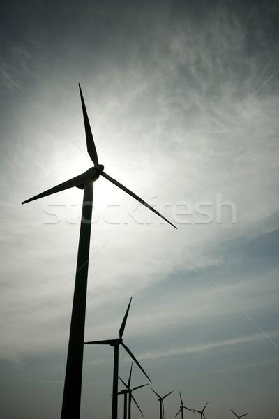 Vento energia elétrico poder produção pôr do sol Foto stock © pedrosala