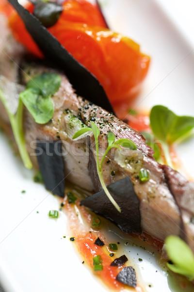 Atún típico pequeño blanco plato peces Foto stock © pedrosala
