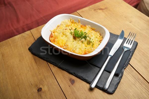 Toscane pommes de terre plat table en bois dîner manger Photo stock © pedrosala