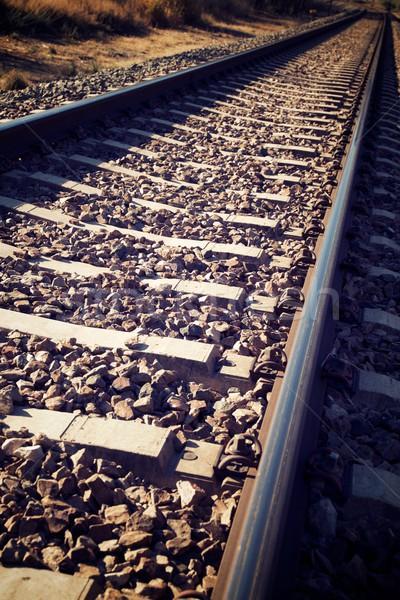 Kolej żelazna line drogowego metal pociągu Zdjęcia stock © pedrosala