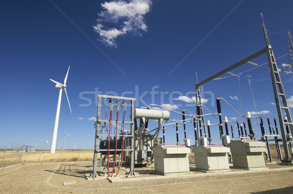 Erőmű szélmalom kék ég Spanyolország égbolt hálózat Stock fotó © pedrosala