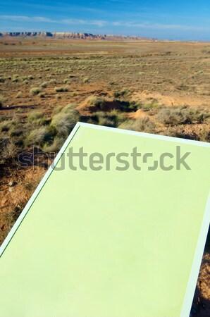 Signal vert paysage herbe design bleu Photo stock © pedrosala