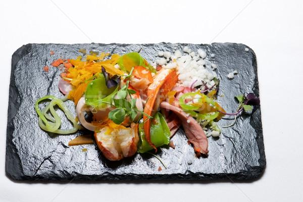 チキンサラダ ロブスター 食品 魚 レストラン 赤 ストックフォト © pedrosala