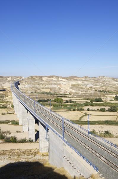 Modernen Ansicht konkrete High-Speed- Züge Spanien Stock foto © pedrosala
