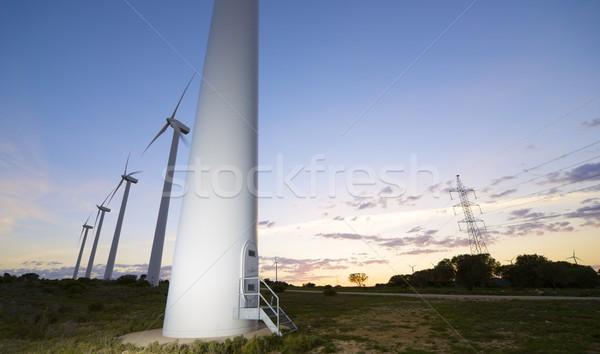 Foto stock: Vento · energia · elétrico · poder · produção · sol