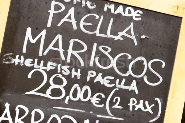 Espanol menú primer plano anunciante típico restaurante Foto stock © pedrosala