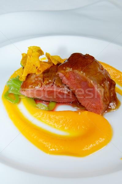 Cordeiro abóbora misto legumes restaurante verde Foto stock © pedrosala