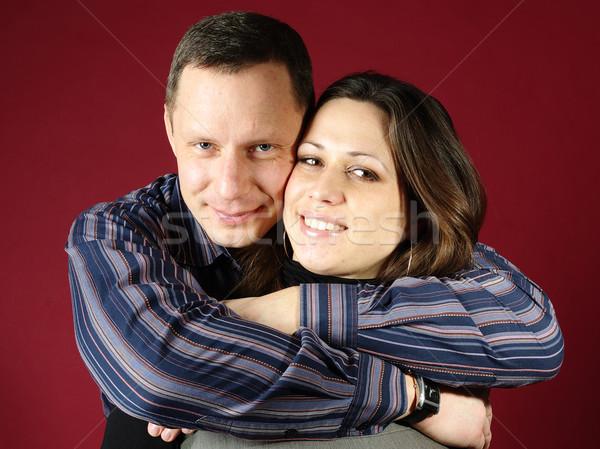 Mutlu çift kırmızı aile sevmek Stok fotoğraf © pekour