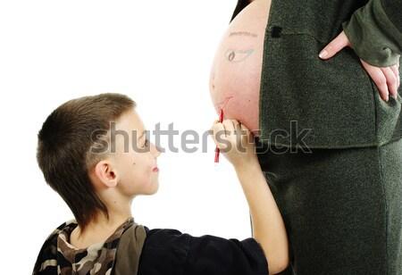 мальчика лице беременна мамы живота изолированный Сток-фото © pekour