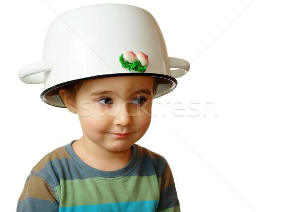 Küçük erkek beyaz pot kafa Stok fotoğraf © pekour